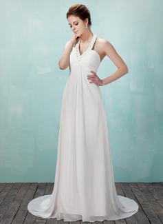 Empire Halter Court Train Chiffon Wedding Dress With Ruffle Beading