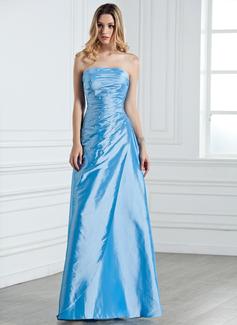 Sheath/Column Strapless Floor-Length Taffeta Bridesmaid Dress With Ruffle Beading