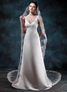 Sheath/Column V-neck Court Train Satin Wedding Dress With Beading