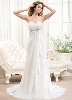Corte A/Princesa Escote corazón Barrer/Cepillo tren Chifón Vestido de novia con Bordado Cascada de volantes
