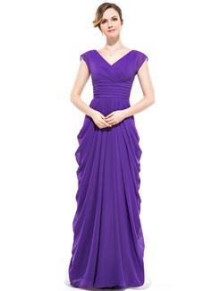 Sheath/Column V-neck Floor-Length Chiffon Bridesmaid Dress With Ruffle