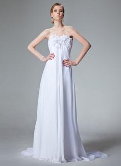 Empire Sweetheart Court Train Chiffon Wedding Dress With Ruffle Beading Flower(s)
