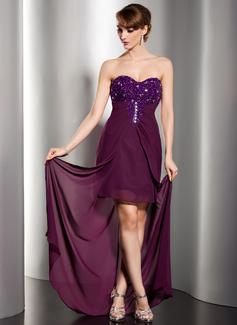 Etui-Linie Herzausschnitt Bodenlang Chiffon Abendkleid mit Rüschen Perlen verziert