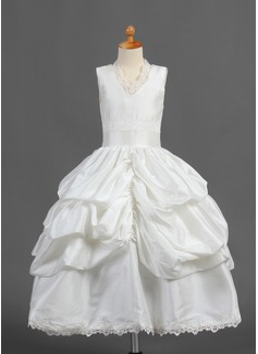 Ball Gown Tea-length Flower Girl Dress - Taffeta Sleeveless V-neck With Ruffles/Lace/Pick Up Skirt