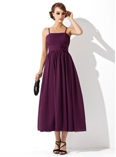 Empire Tea-Length Chiffon Maternity Bridesmaid Dress With Ruffle Flower(s)