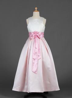 A-Line/Princess Floor-length Flower Girl Dress - Satin Sleeveless Scoop Neck With Sash/Flower(s)/Bow(s)