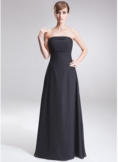A-Line/Princess Strapless Floor-Length Chiffon Bridesmaid Dress With Ruffle