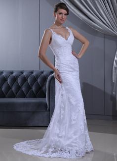 Sheath/Column V-neck Sweep Train Lace Wedding Dress With Ruffle Beading