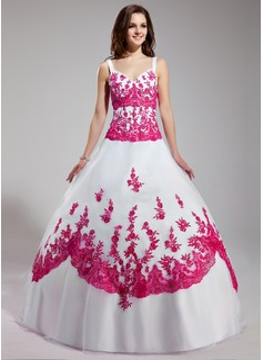 Duchesse-Linie V-Ausschnitt Bodenlang Organza Quinceañera Kleid (Kleid für die Geburtstagsfeier) mit Bestickt Perlen verziert Pailletten