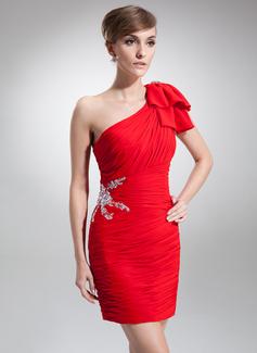 Sheath/Column One-Shoulder Short/Mini Chiffon Cocktail Dress With Ruffle Beading Bow(s)