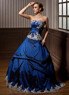 Duchesse-Linie Trägerlos Bodenlang Taft Quinceañera Kleid (Kleid für die Geburtstagsfeier) mit Bestickt Rüschen Perlstickerei