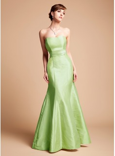Trumpet/Mermaid Sweetheart Floor-Length Taffeta Bridesmaid Dress With Cascading Ruffles