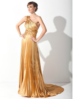 A-Line/Princess One-Shoulder Court Train Charmeuse Prom Dress With Appliques Lace Pleated