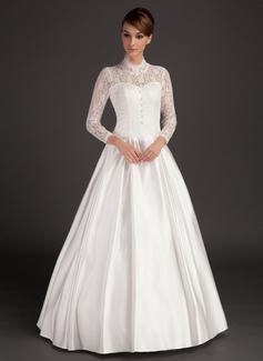 A-Line/Princess High Neck Floor-Length Satin Wedding Dress