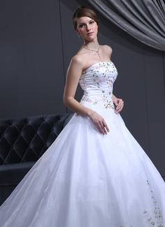 Corte de baile Estrapless Tren de la catedral Organdí Satén Vestido de novia con Bordado