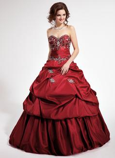 Duchesse-Linie Herzausschnitt Kathedrale Schleppe Abnehmbar Taft Quinceañera Kleid (Kleid für die Geburtstagsfeier) mit Bestickt Rüschen Perlen verziert Pailletten