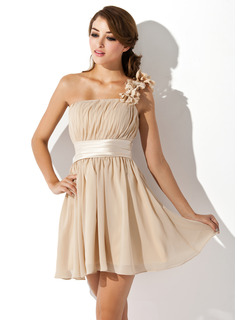 A-Line/Princess One-Shoulder Short/Mini Chiffon Homecoming Dress With Ruffle Flower(s) Bow(s)