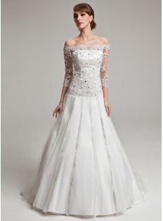 Ball-Gown Off-the-Shoulder Court Train Charmeuse Tulle Wedding Dress With Beading