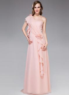 A-Line/Princess One-Shoulder Watteau Train Chiffon Holiday Dress With Beading Flower(s) Cascading Ruffles