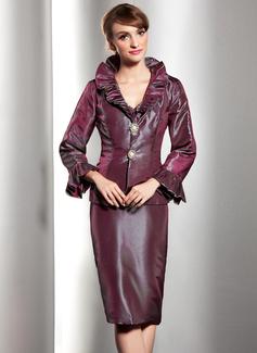 Sheath/Column V-neck Knee-Length Taffeta Mother of the Bride Dress With Cascading Ruffles