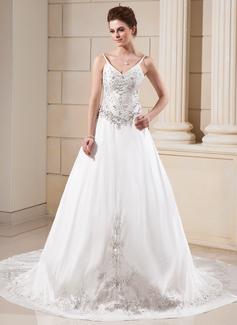 Corte A/Princesa Escote en V La capilla de tren Tafetán Vestido de novia con Bordado Bordado