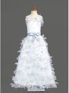 A-Line/Princess Floor-length Flower Girl Dress - Organza/Charmeuse Sleeveless With Sash/Feather/Flower(s)/Bow(s)