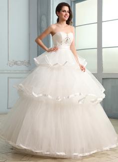 Corte de baile Escote corazón Hasta el suelo Charmeuse Tul Vestido de novia con Volantes Bordado