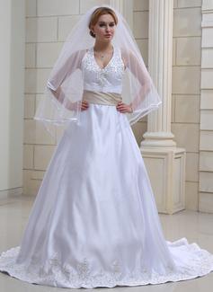 Corte A/Princesa Cabestro La capilla de tren Satén Vestido de novia con Bordado Fajas Bordado