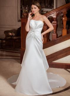 Corte trompeta/sirena Escote corazón Cola capilla Satén Vestido de novia con Bordado Lentejuelas Cascada de volantes