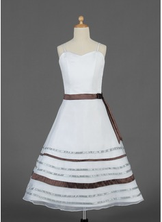 A-Line/Princess Tea-length Flower Girl Dress - Organza/Satin Sleeveless Sweetheart With Sash/Bow(s)