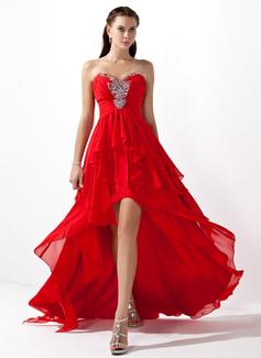 Corte A/Princesa Escote corazón Asimétrico Chifón Vestido de baile de promoción con Bordado Cascada de volantes