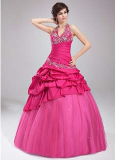 Duchesse-Linie Träger Bodenlang Taft Tüll Quinceañera Kleid (Kleid für die Geburtstagsfeier) mit Bestickt Rüschen Perlen verziert