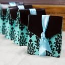 Türkis und Braun Schnörkel Geschenkboxen mit Bänder (Satz von 12)
