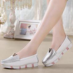 De mujer Piel Tacón plano Cerrados Cuñas con Lentejuelas Material Block zapatos