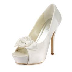 Women's Satin Stiletto Heel Peep Toe Platform Sandals With Satin Flower