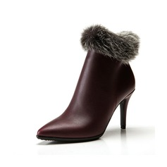 Real Leather Stiletto Heel Ankle Boots With Fur shoes