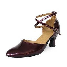 Women's Patent Leather Heels Pumps Ballroom With Ankle Strap Dance Shoes