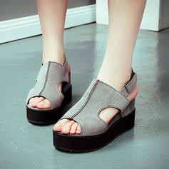 Women's Suede Wedge Heel Sandals Pumps Platform Peep Toe Slingbacks With Buckle Hollow-out shoes