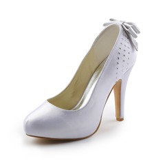 Women's Satin Cone Heel Closed Toe Platform Pumps With Bowknot Rhinestone