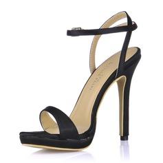 Women's Silk Like Satin Stiletto Heel Sandals Slingbacks With Buckle