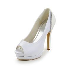 Women's Satin Stiletto Heel Peep Toe Platform Sandals With Rhinestone Split Joint