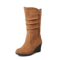 Suede Wedge Heel Mid-Calf Boots With Zipper shoes