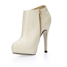 Patent Leather Stiletto Heel Closed Toe Platform Ankle Boots