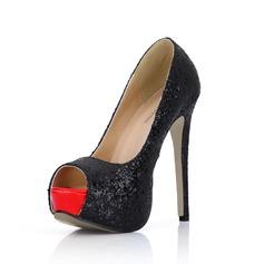 Sparkling Glitter Stiletto Heel Sandals Platform Peep Toe shoes