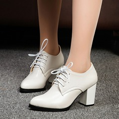 Women's Leatherette Chunky Heel Pumps Closed Toe With Lace-up shoes