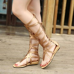 Women's Leatherette Low Heel Sandals Boots Peep Toe Mid-Calf Boots With Zipper Hollow-out shoes