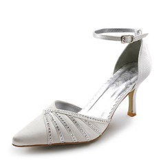 Women's Satin Cone Heel Closed Toe Pumps With Buckle Rhinestone