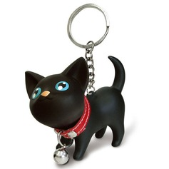 Funny & Reluctant Lovely cat Silver Plated Steel Keychains