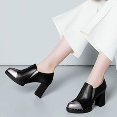 Women's Real Leather Chunky Heel Closed Toe Ankle Boots With Split Joint shoes
