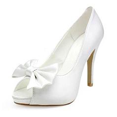 Women's Satin Cone Heel Peep Toe Platform Sandals With Bowknot